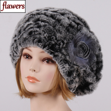 2019 Winter Women Real Rex Rabbit Fur Hats Lady Real Rex Rabbit Fur Beanies Striped Flower Fox Fur Warm Soft Real Fur Knit Caps cheap LLHPBFUR Rabbit Adult Casual Flawers-026 Skullies Beanies 100 real rex rabbit fur and fox fur Good elastic suitable for every woman