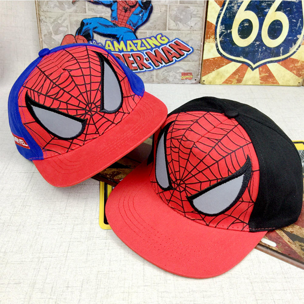 2018 neue spiderman kinder cartoon stickerei baumwolle baseballmütze kinder jungen mädchen hip hop hut spiderman cosplay hut accessary