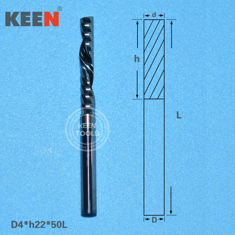 4 22mm One Flute Down Cut End Mill Woodworking Milling Cutter for CNC Tungsten Carbide Router