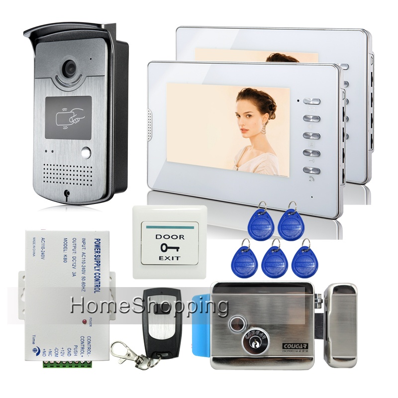 FREE SHIPPING 7 Home Color Wired Video Door phone Doorbell Intercom System 1 ID Reader Camera 2 White monitor E-LOCK Wholesale free shipping wired 7 color video door phone intercom system 2 white monitor 1 night vision doorbell camera in stock wholesale