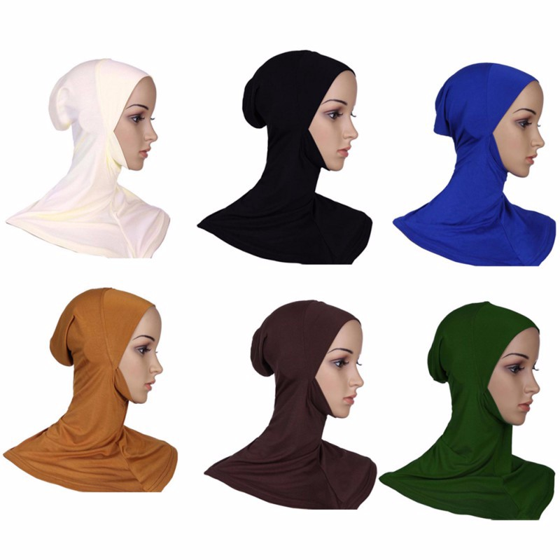 Hijab Headwear Full Cover Underscarf Ninja Inner Neck Chest Plain Hat Cap Scarf Bonnet 2017 2