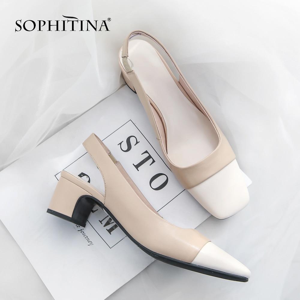 SOPHITINA الأزياء كعب جوفاء الصنادل عالية الجودة جلد البقر مربع اصبع القدم اللون مطابقة أحذية جديد البرية المرأة النعال MO96-في الكعب المتوسط من أحذية على  مجموعة 1