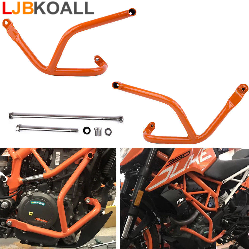 Motorcycle Accessories Orange Left & Right Crash Bar Frame Engine Protection Guard Bumper For KTM Duke 250 390 RC XCW 2017 2018