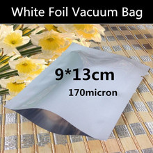 Wholesale 200pcs 9cmx13cm (3.5'' * 5.1'' 170micron Small White Vacuum Foil Packaging Bag High Quality Open Top Foil Bag