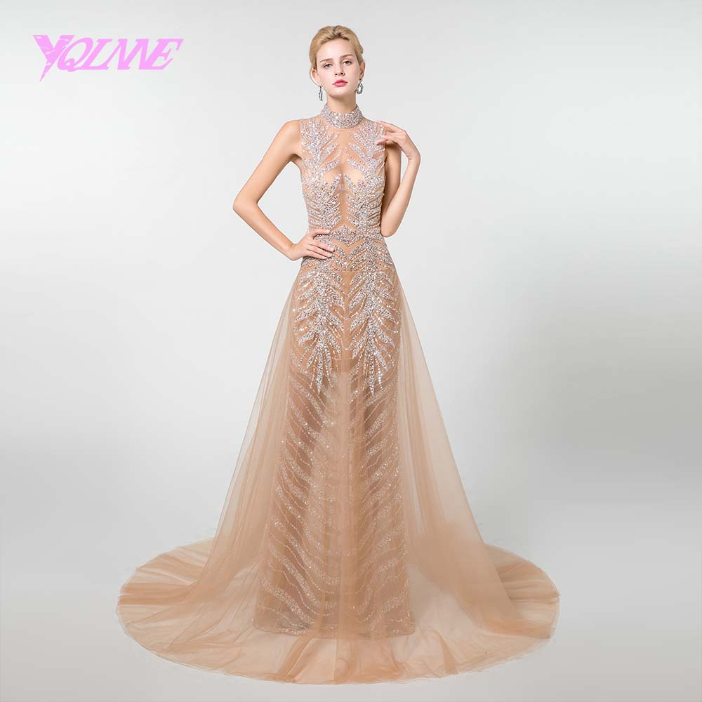 YQLNNE Sexy See Through   Prom     Dresses   2019 Long High Neck Crystals Beaded Tulle Vestido de Festa YQLNNE