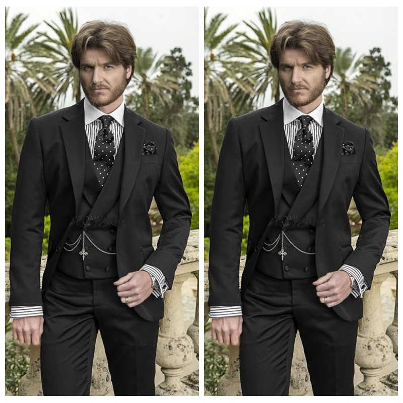 Retro Black Formal Men Wedding Groom Tuxedos Tailor-Made Custom Mens Party Suits Business Casual Suit (Jacket+Pants+Vest)