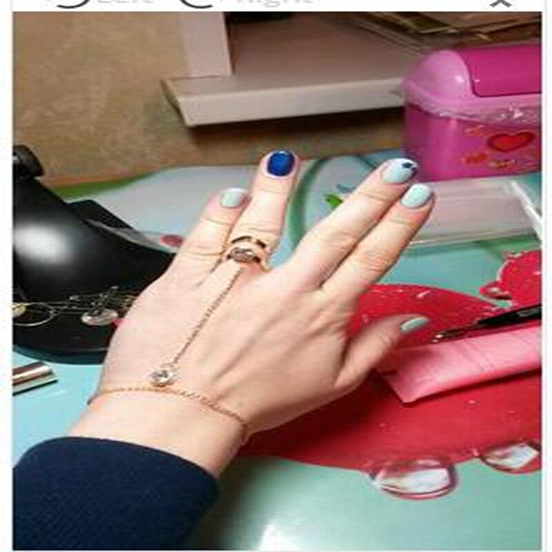 2018 Mode Cantik Berlian Imitasi Gelang Bangle Terhubung Cincin Jari - Perhiasan fashion - Foto 5