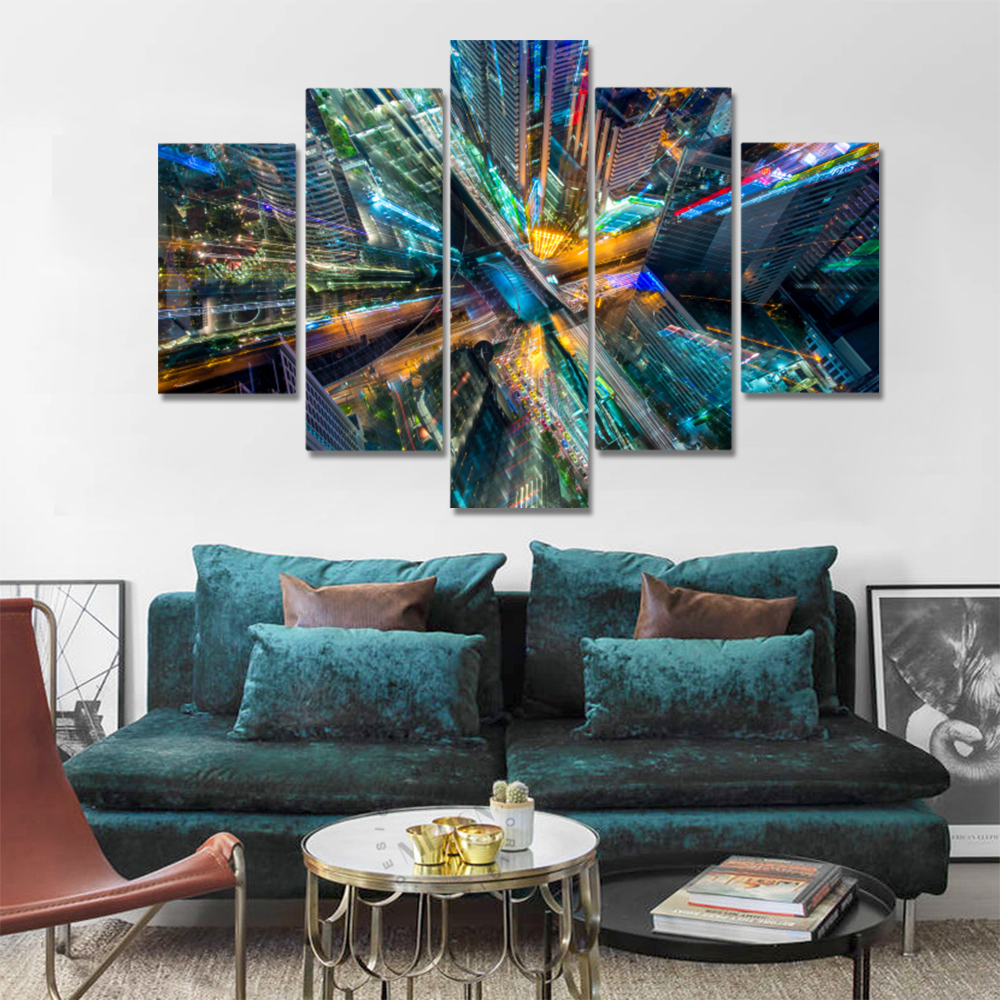 Unframed 5 HD Canvas Prints City Night View Overlooking The Picture Living Room Decoration Mural Module Art Spray Painting