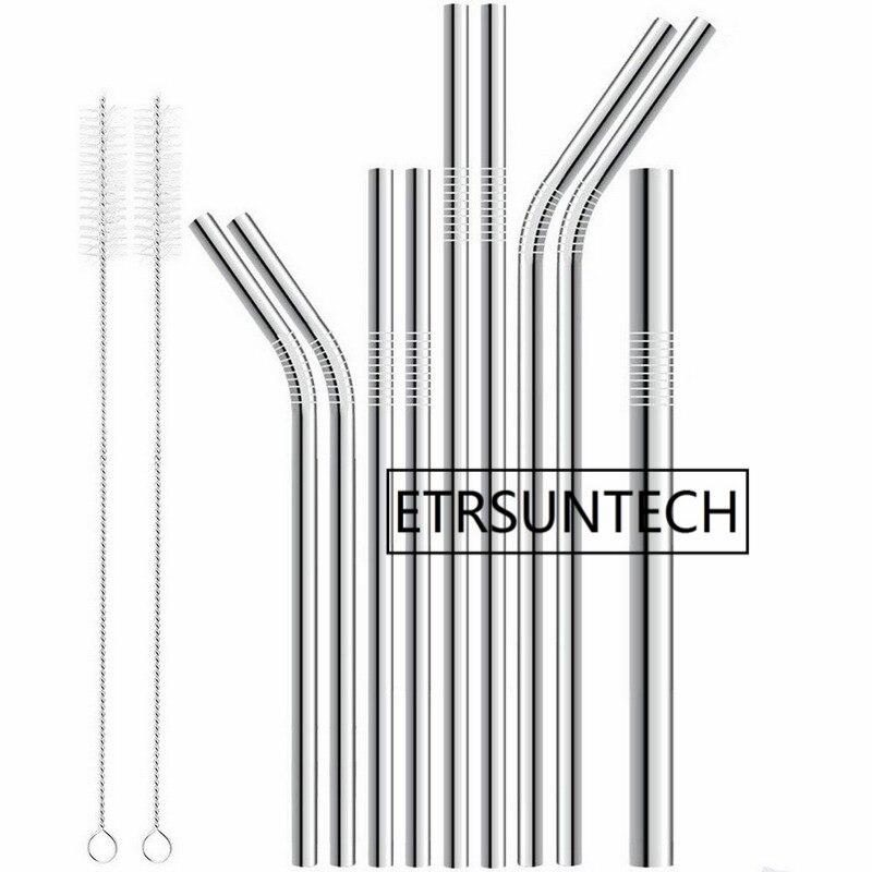 500pcs lot Metal drinking straw 304 stainless steel straw food grade diameter 6mm 8mm 9mm 10mm
