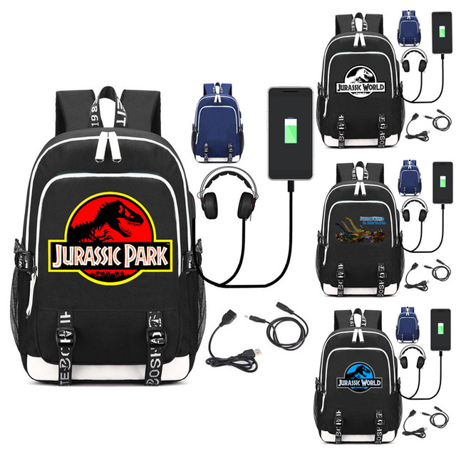 0bcd7787f4 Jurassic World USB charging mochila students Backpack Jurassic park school  shoulder bag Leisure Daily bagpack for teenager
