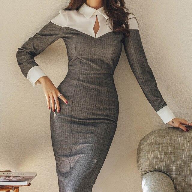 3c0dc766d9be Elegant Patchwork Women Dress Office Lady Long Sleeve midi dress 2019  Spring Dress Turn-down Collar Slim Pencil Dress CX1273
