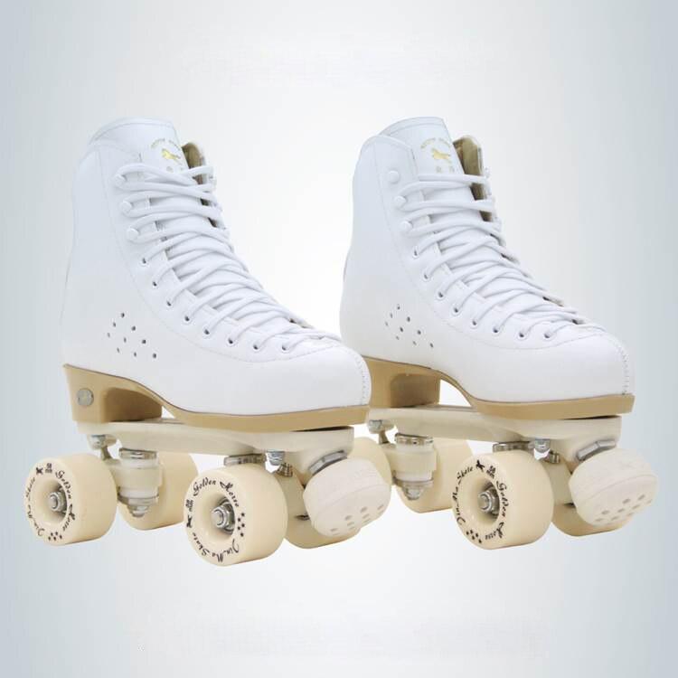 Deux Ligne Patins à roulettes Chaussures Double Rangée Patins Enfants Adultes Parentales Rouleau Sneakers 4 PU Roues En Cuir de Vachette Unisexe IB47
