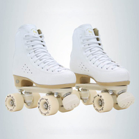 Two Line Roller Skates Shoes Double Row Skates Children Adult Parenting Roller Sneakers 4 PU Wheels Cowhide Leather Unisex IB47