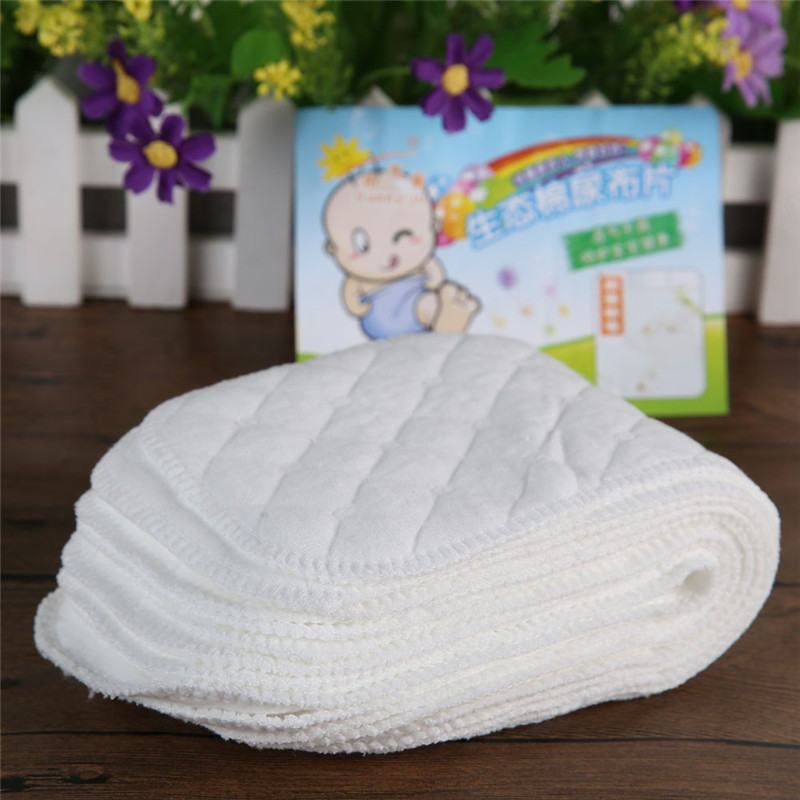 Купить с кэшбэком 10pcs Reusable baby diapers cloth diaper for newborns Soft breathable nappy inserts 3 layers nappy liners for infant baby care