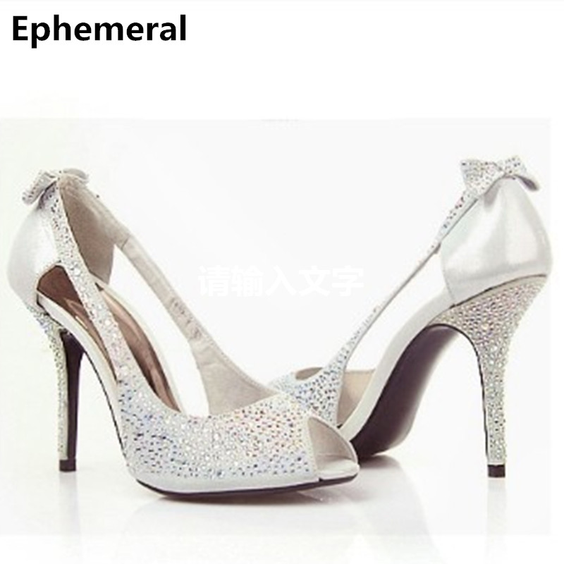 Female Luxury Diamond Sexy Hot Sell Big Size Heels (34-46) shoes Lady full genuine leather high heels Party Cinderella Peep Toe lady plus size 35 46 sexy mesh patching customized luxury diamond pointed toe genuine leather high heels shoes women pumps party