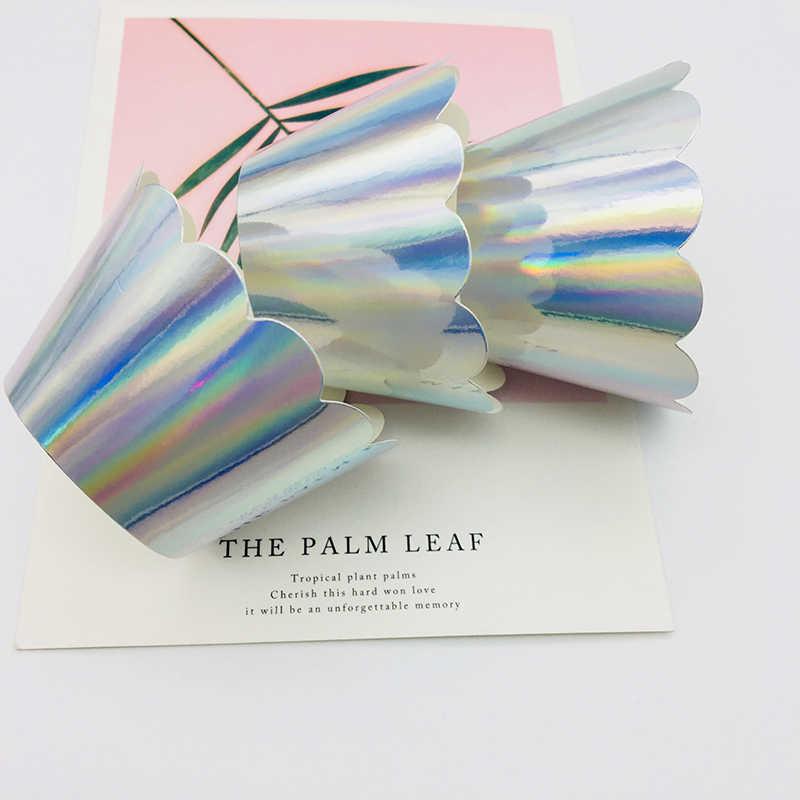 60 uds envoltorios en papel aluminio plateado liso Cupcake desechable pastel de fiesta decoración DIY hueco taza para Baby Shower boda Grand Event Party