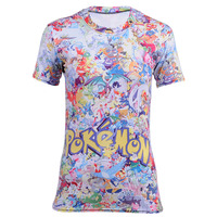 Hot Sales Funny Classic Cartoon Pokemon Pikachu Print Cute T Shirt Women Anime Tees Fashion Casual