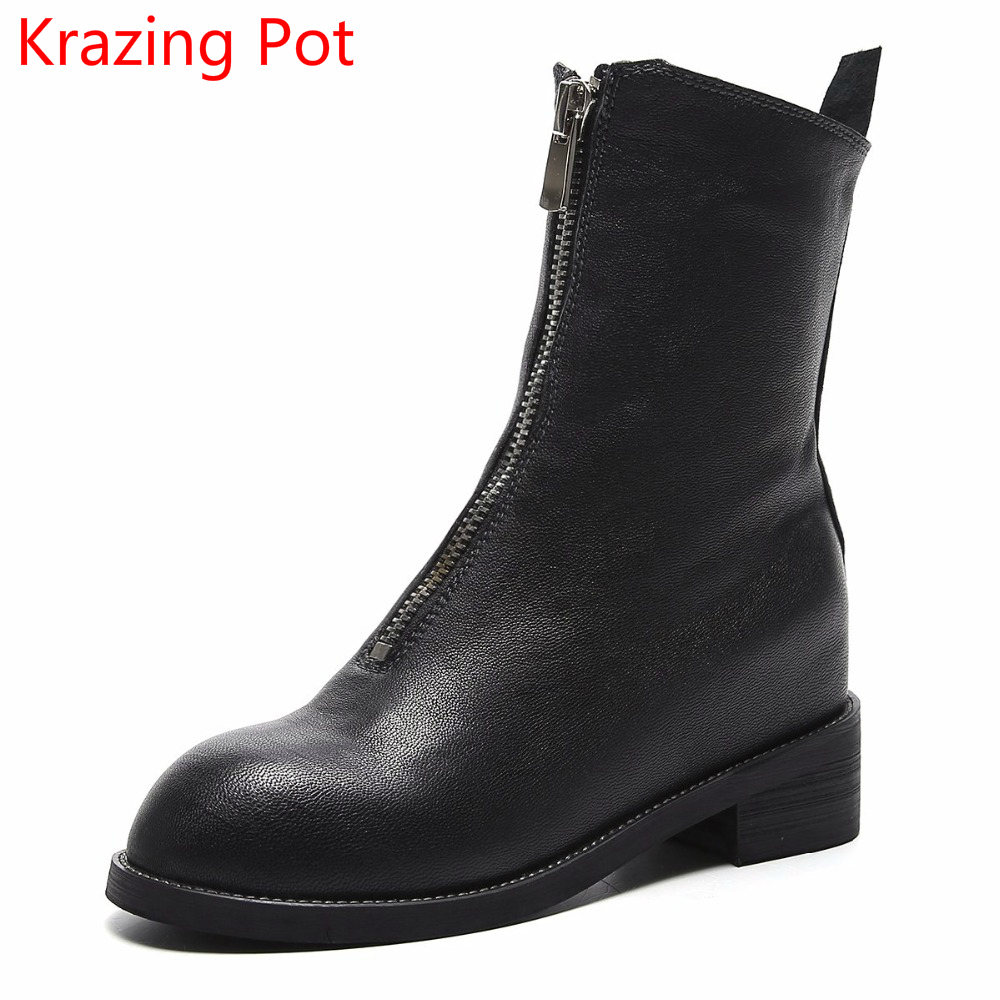2018 New Arrival Keep Warm Round Toe Zipper Genuine Leather High Heels Superstar Winter Boots Fashionwomen Mid-calf Boots L69