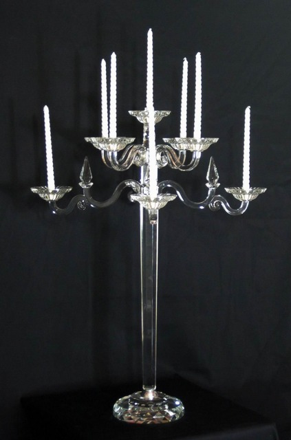 Classical 9 arms 83cm K9 Crystal Candelabra Candelabrum Candlestick Wedding Decoration Centerpieces