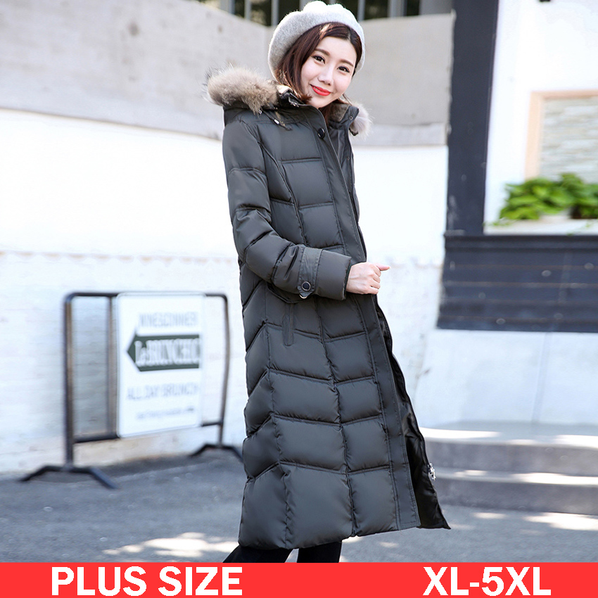 XL-5XL Plus Size Women Long Down Jacket With Fur Hood 2017 Winter Warm Duck Down Coat Female Parkas Black,ArmyGreen,Gray and Red 2016 black big plus size korea fashion female outwear thick warm parka oversize fur duck down winter coat women retro with hood