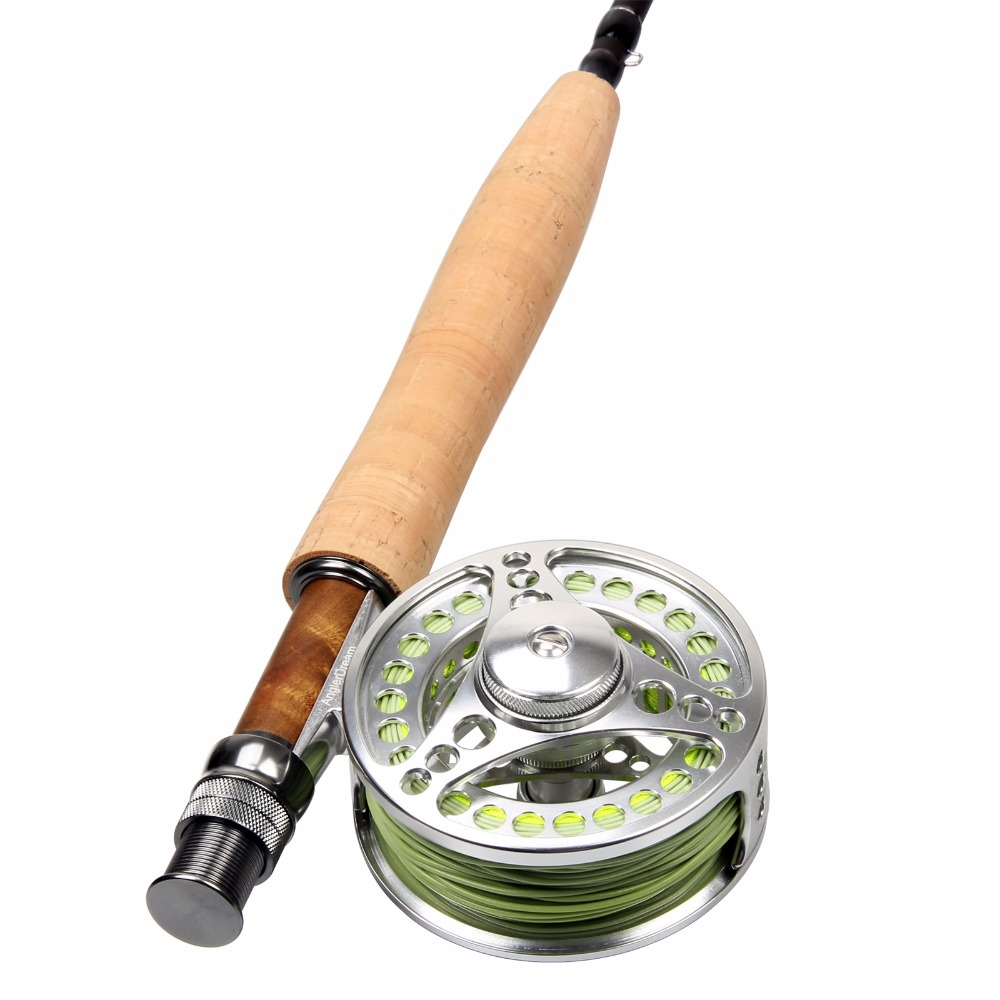 5WT Fly Rod Combo 9FT Carbon Fiber Fly Fishing Rod & 5/6WT Large Arbor CNC Machined Aluminum Fishing Fly Reel Fly Line Backing maximumcatch 5 6wt fly fishing combo 9ft fly rod and avid pre spooled reel outfit