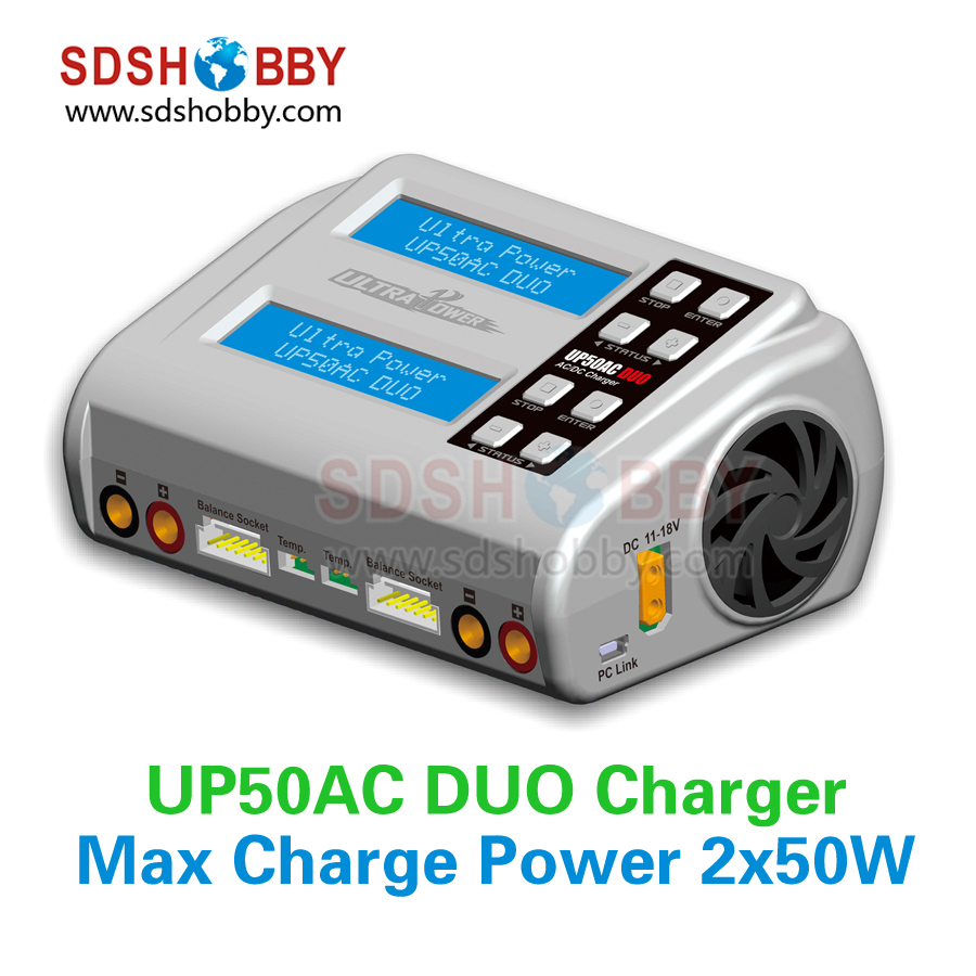 ФОТО UP50AC DUO Charger 50W 100W RC Model Airplane Multicopter LiIo/LiPo/LiFe/LiHv/NiCd/NiMH/ Pb Battery Charger