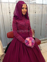 Oumeiya OW518 Burgundy Color Lace and Chiffon Ball Gown Floor Length Hijab High Neck Long Sleeve Muslim Evening Dress 2016