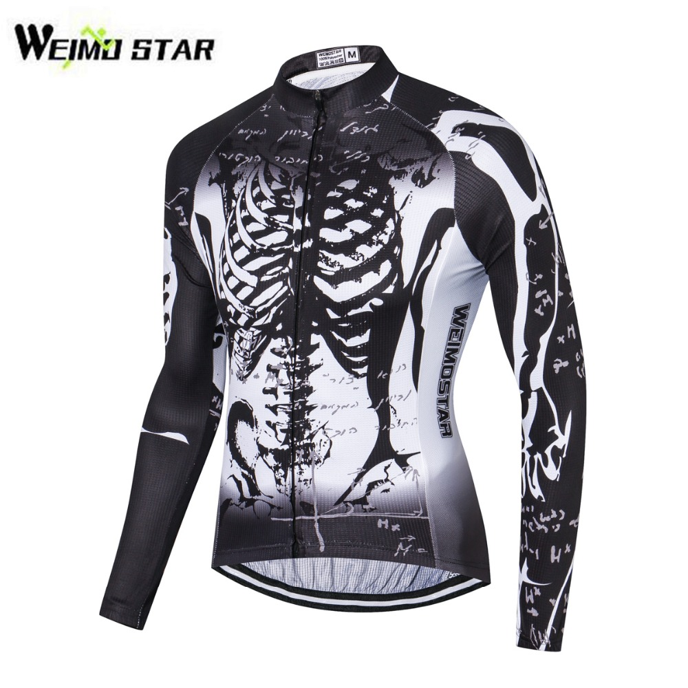 WEIMOSTAR Cycling Jersey Long Sleeve Jacket Bike Riding Cycling Clothing Ciclismo Sportswear Maillot Black White Skeleton S-3XL