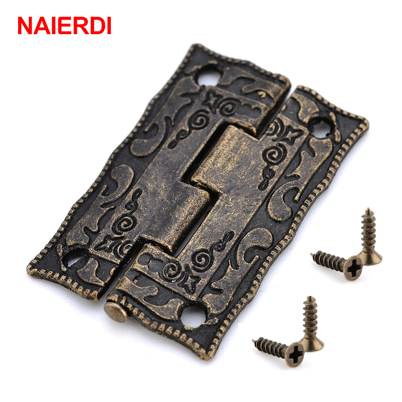 10PCS NAIERDI Antique Bronze Hinges Cabinet Door Drawer Decoration Vintage Hinge For Jewelry Wooden Box Furniture Hardware