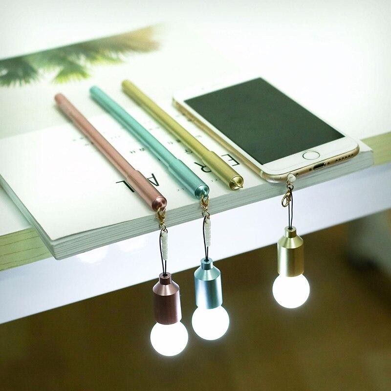 Efficient Cute Kawaii Plastic Gel Pen Creative Light Bulb Dust Plug Pen For Kids Students Gift Korean Stationery Office School Supplies