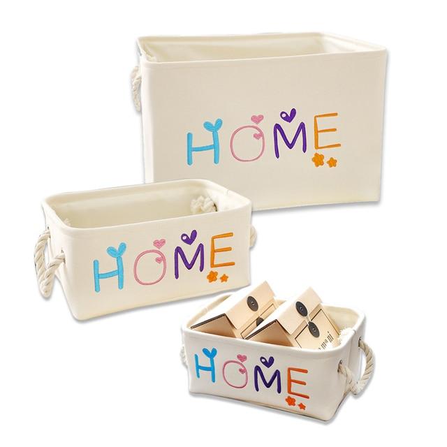 Home Canvas Storage Basket With Handle Dirty Clothes Laundry Baskets Kids  Toys Organizer Hamper Desktop Sundries