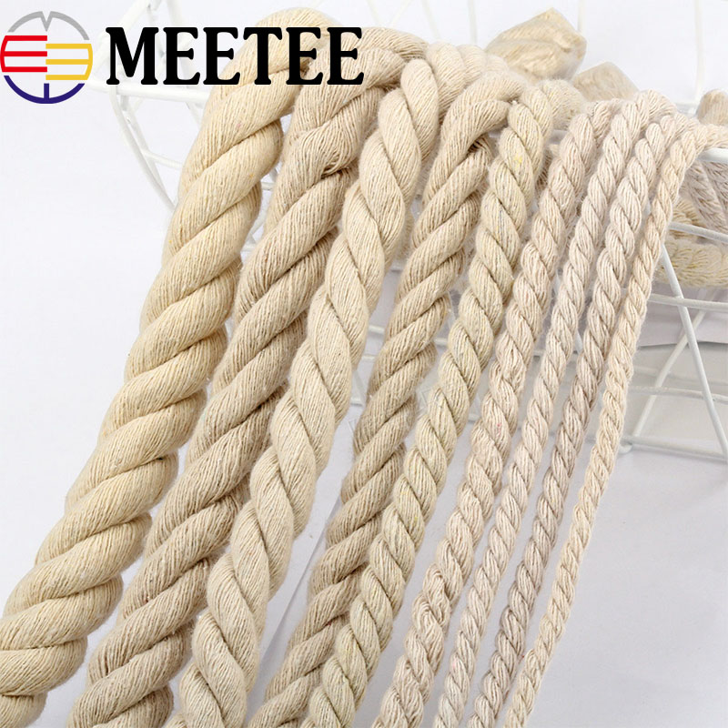 Eco Friendly Durable Natural Cotton Cord High Tenacity Twisted Cotton Rope Home Bag Decor DIY Home Textile Accessories Craft in Cords from Home Garden