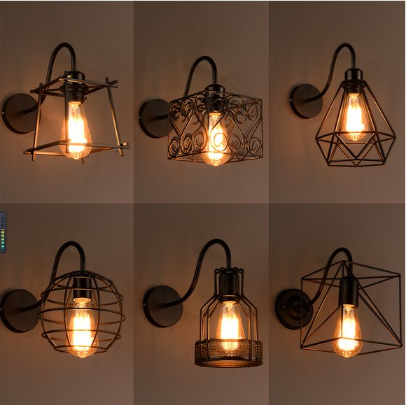 ФОТО Vintage Industrial Metal Cage led Wall Lamp Steel Wire Iron Wall Sconce Retro Light edison light fixtures