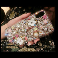 For iPhone X XS Max XR 6 6s 7 8 Plus 5 5s SE Beautiful Bling Flower Rhinestone case Luxury Diamond Cover