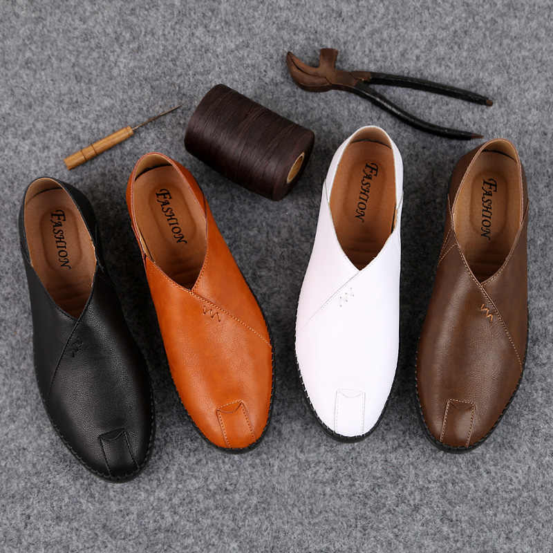 2019 Mannen Zomer Lente Schoenen Ademend Lederen Flats Loafers Mannen Casual Schoenen Luxe Mode Slip Op Rijden Schoenen Mannen Grote size