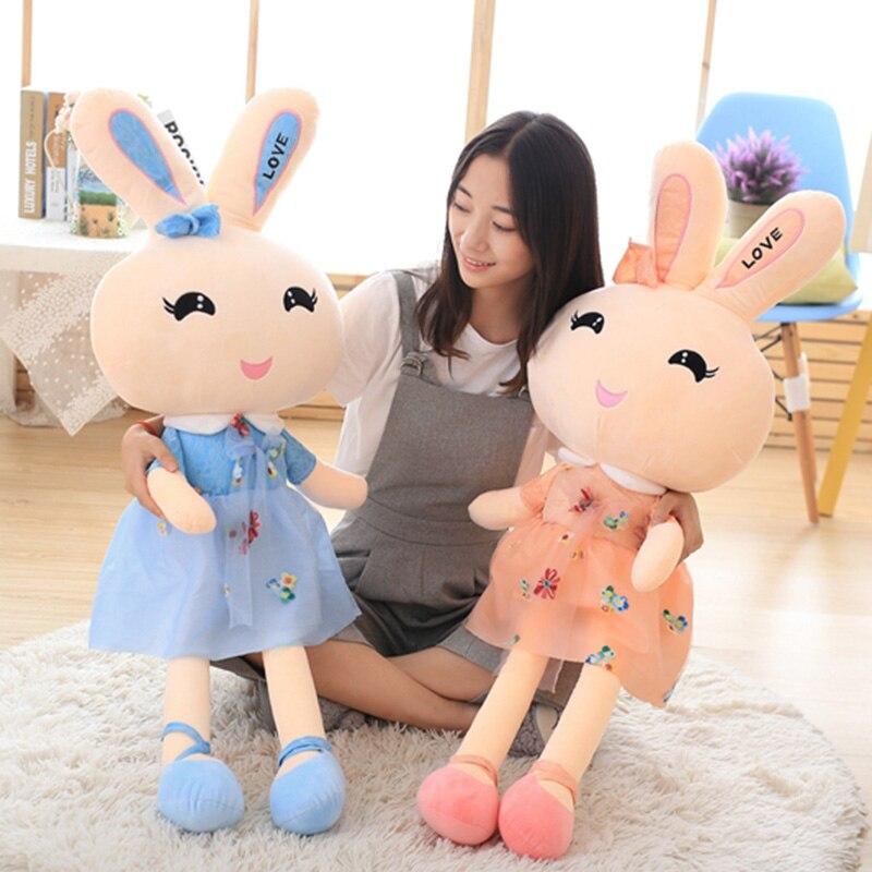 Fleur fée lapin bébé poupée dessin animé en peluche jouet Animal poupée cadeau d'anniversaire pour enfants doux oreiller poupée 110 cm grande taille jouet