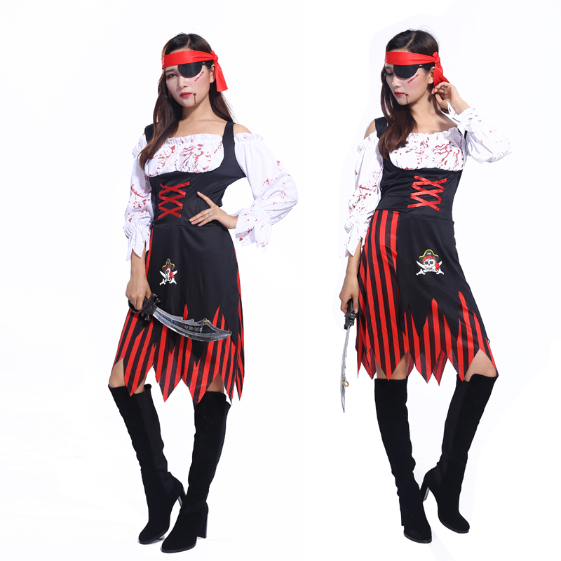 2016 Halloween costume masquerade cos Caribbean Pirates of the Caribbean female pirate bloody female adult stage costumes