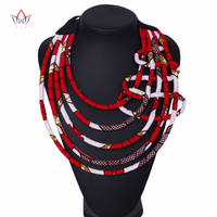 African Print Necklace Ankara Print Necklace African Ethnic Handmade jewellery African fabric jewellery for Women none WYB339