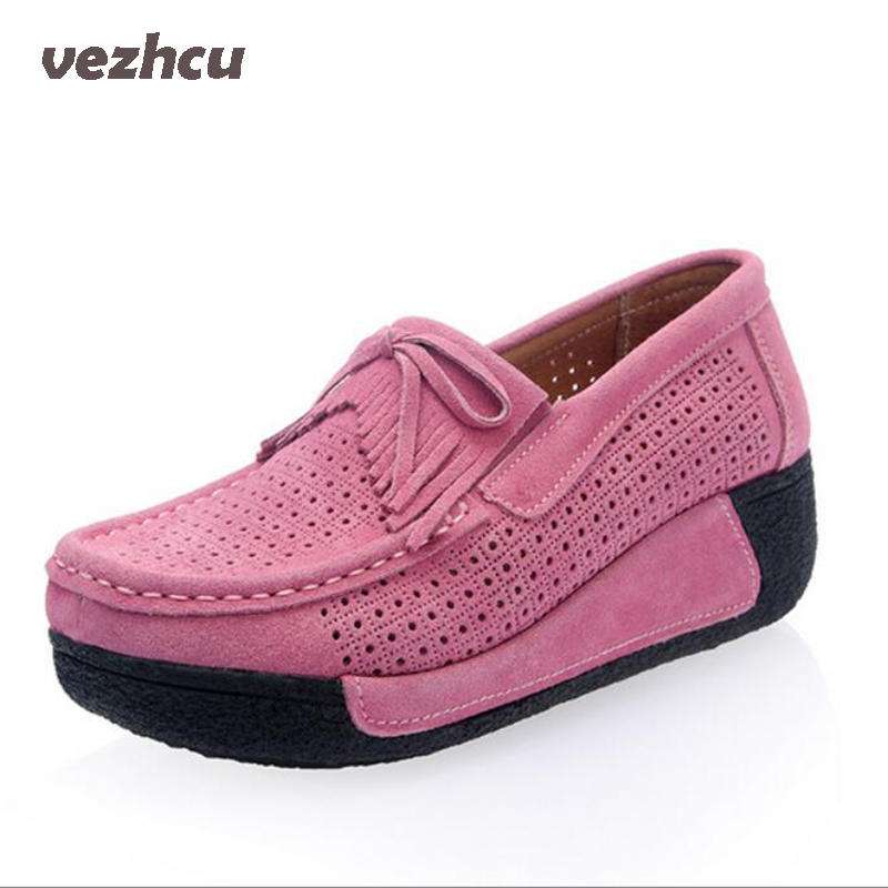 Flats Women Shoes Summer Moccasin Platform Shoes Cow Suede Casual Slip On hollow out Loafers Women Casual Shoes cd33 summer breathable hollow casual shoes women slip on platform flats shoes fashion revit height increasing women shoes h498 35