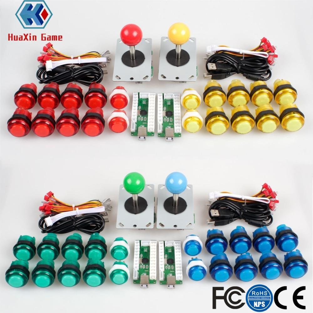4 lecteur Classique BRICOLAGE Arcade Kit USB Codeur À PC Contrôles Jeux 5 v LED Push Boutons pour Vidéo Jeu consoles Mame Raspberry Pi