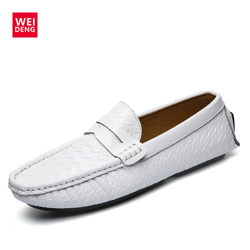 WeiDeng Men Weave Casual Shoes Genuine Leather Loafers Man Flats Men Fashion Shoes Driving Oxfords Shoes Moccasins Man Flats cyabmoz 2017 flats new arrival brand casual shoes men genuine leather loafers shoes comfortable handmade moccasins shoes oxfords