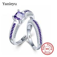 Yanleyu Luxury Princess Square Cut Purple Cubic Zirconia Couple Rings 2pcs 925 Sterling Silver Wedding Rings Set for Women PR244