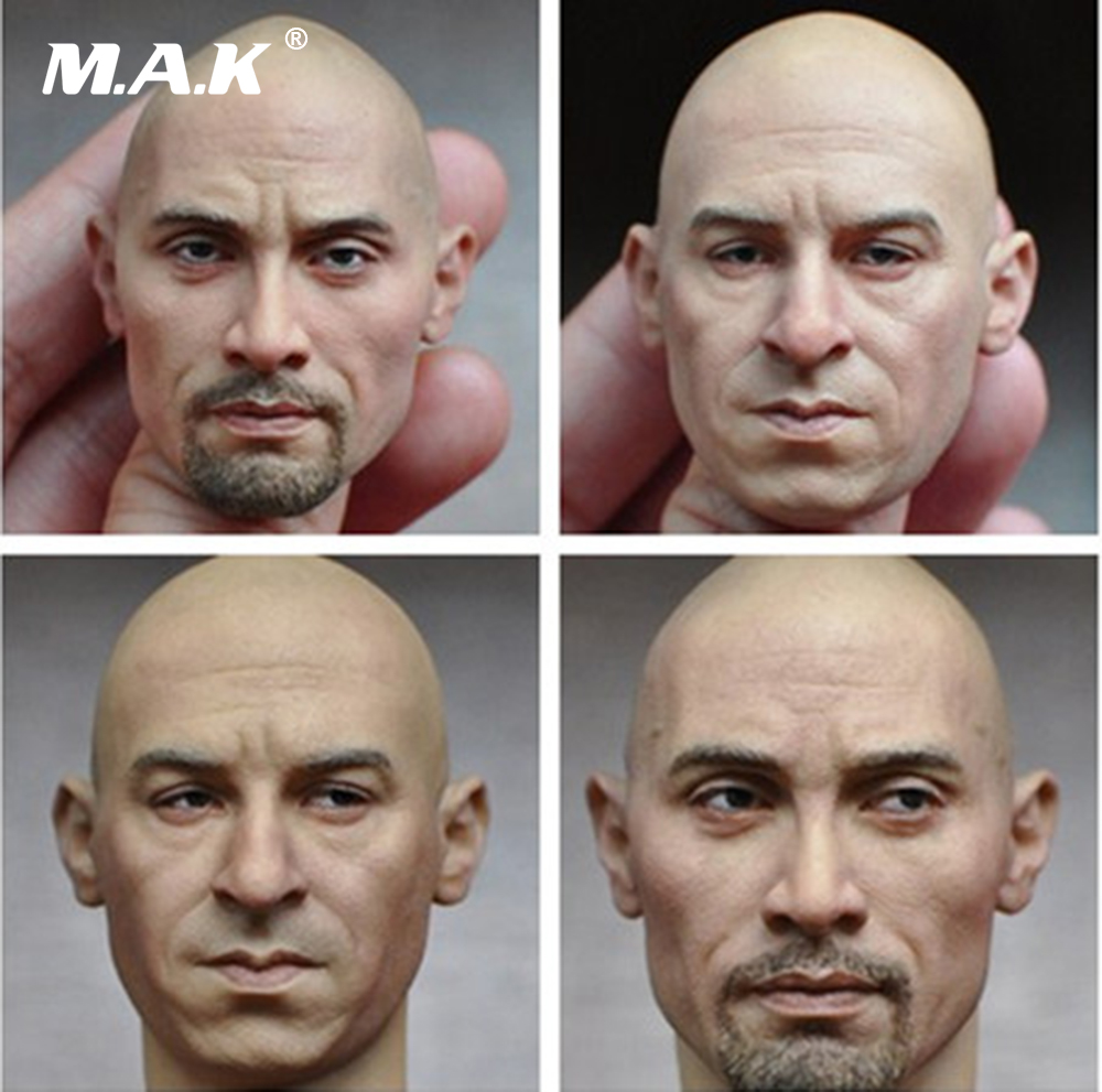 1/6 Scale Movie Fast & Furious Head Sculpt Vin Diesel Dwayne Johnson Head Model for 12 inches Action Figure Collections 1 6 scale rifle gun model for 12 inches action figure accessories collections x80028 m700pss x80026 psg1