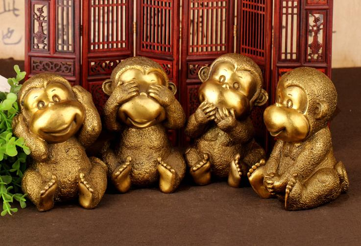 Rare old QingDyansty copper monkey statue, happy monkey brother combination,4 pieces/lot, the best collection,free shipping