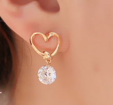 e020 Brand Design New hot Fashion Popular Luxury Crystal Zircon Stud Heart Earrings Elegant earrings jewelry