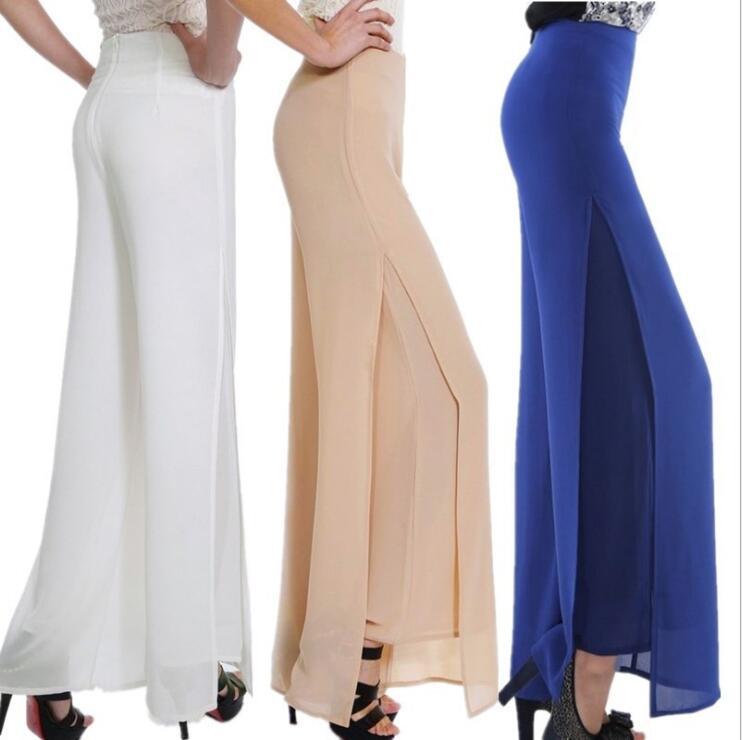 Spring And Summer Women   Wide     Leg     Pants   Side Split Chiffon   Pants   Plus Size Women Ladies Loose High Waist Long Trousers Pantalones