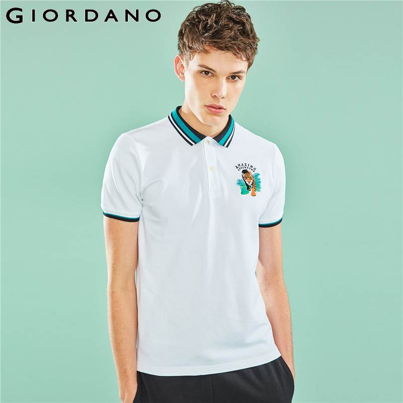 Giordano Men   Polo   Shirt The Amazon Series Embroidery   Polo   For Men Fashion Pattern   Polos   Para Hombre Brand Men's Clothes