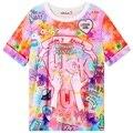 Mulheres cor da tintura do laço curto-luva t top mulheres tie-dye tops mulher estilo de rua verão tees harajuku camiseta de manga curta t camisa
