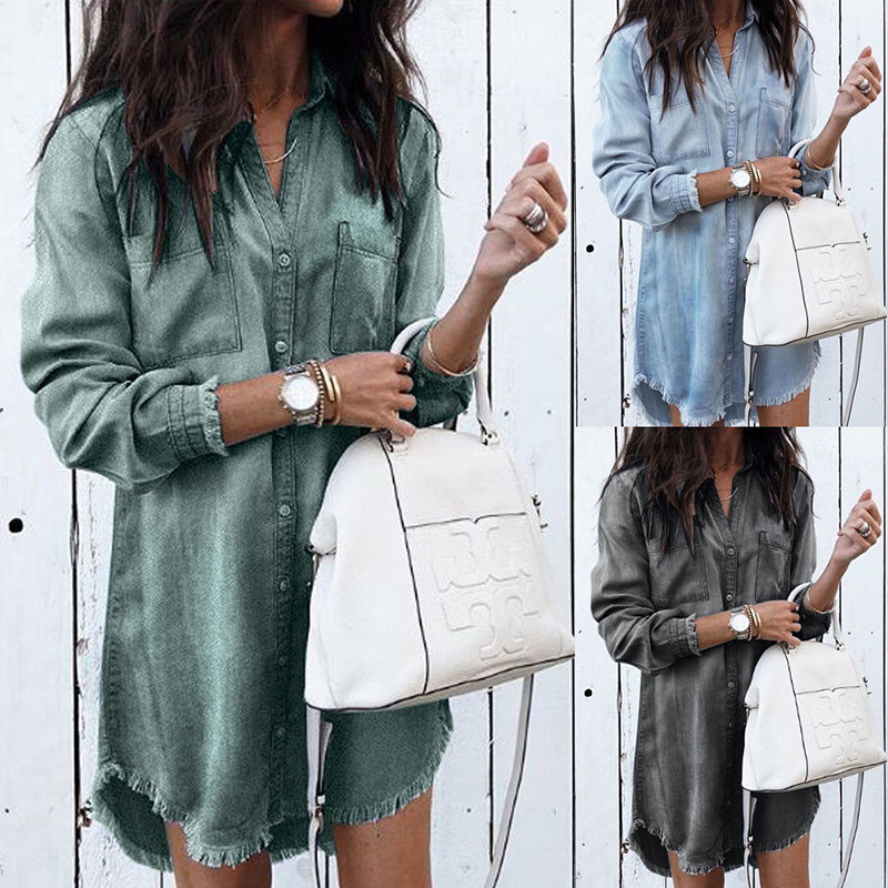 Women Casual Denim Shirt Dress Ladies Long Sleeve Turn-Down Collar Office Lady Dress 2019 Spring New Fashion Shirt Tassel Dress