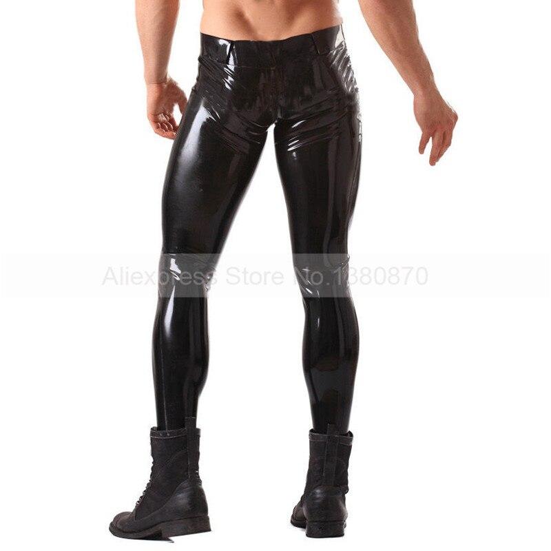 Solide Noir Mâle Caoutchouc Latex Pantalon Homme Sexy Pantalon avec Ceinture S-LTM013 - 3